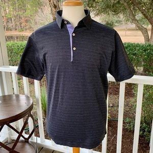 Peter Millar crown Polo Shirt. Black/Lavender. M